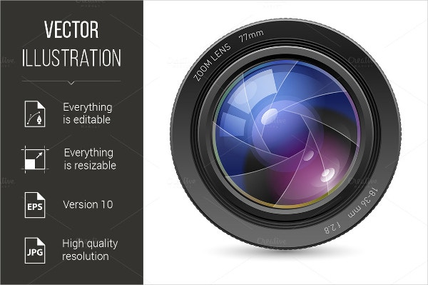 Isolated Camera Icon lens
