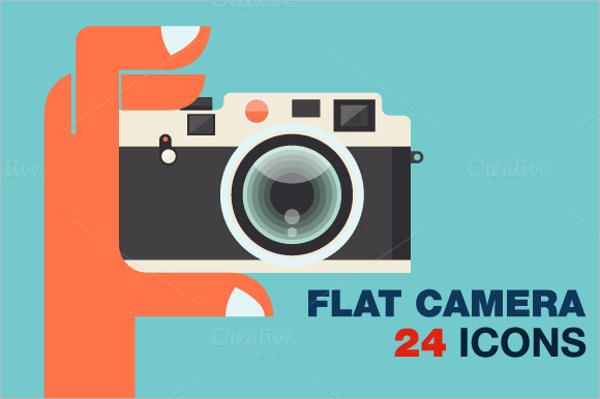 24 flat camera icons bundle