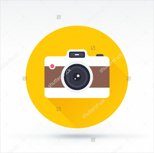 flat style with long shadows camera icon