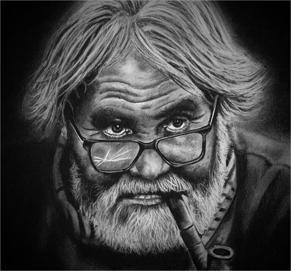 Charcoal Drawings of Old Man