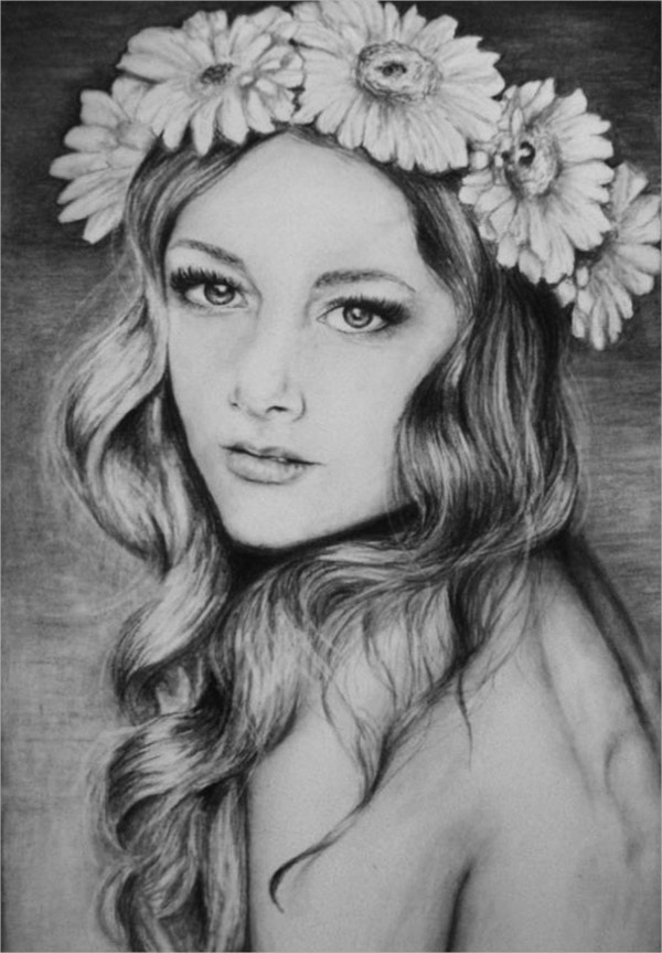 Flower Girl Charcoal Drawing