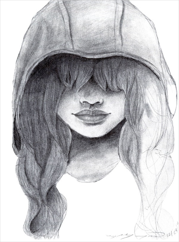 Alone girl drawing