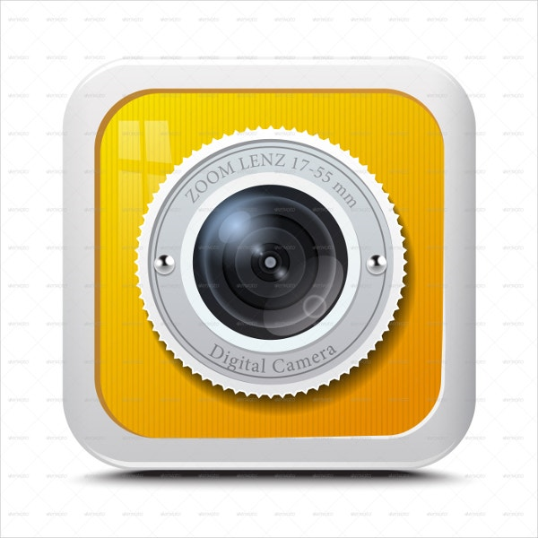 Yellow Colour Camera Icon