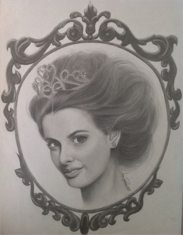 Princess Charcoal Drawing