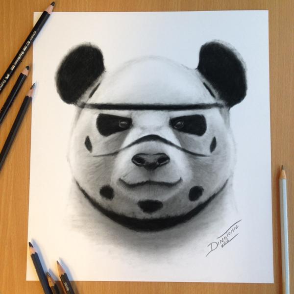 Panda Charcoal Drawing