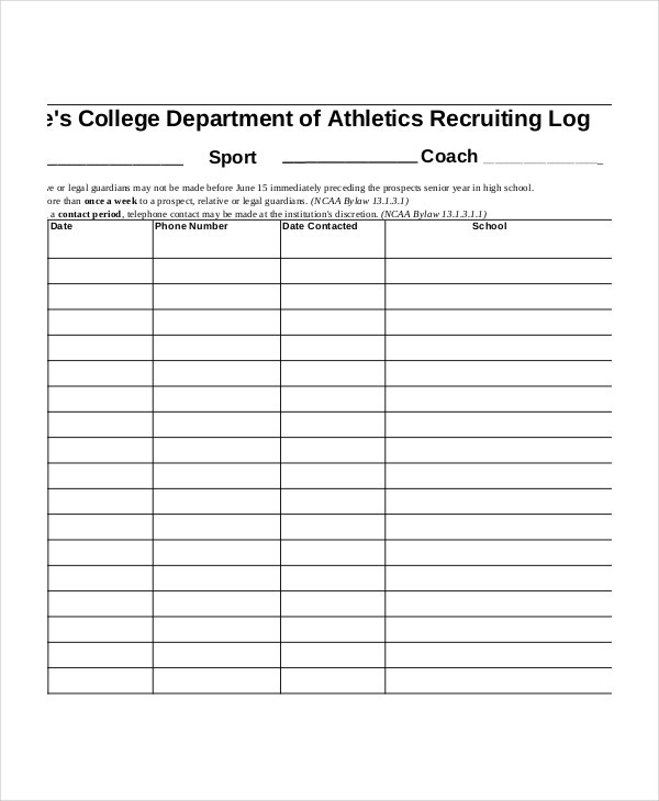 college-athletics-call-log-sheet-template