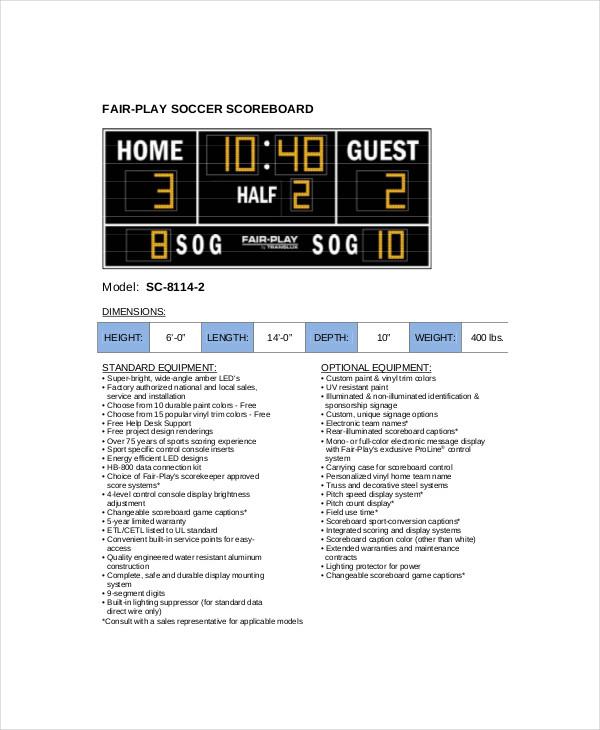 soccer scoreboard template