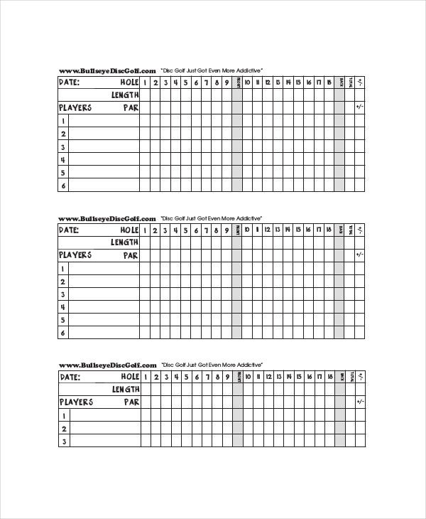 Golf Score Card Template