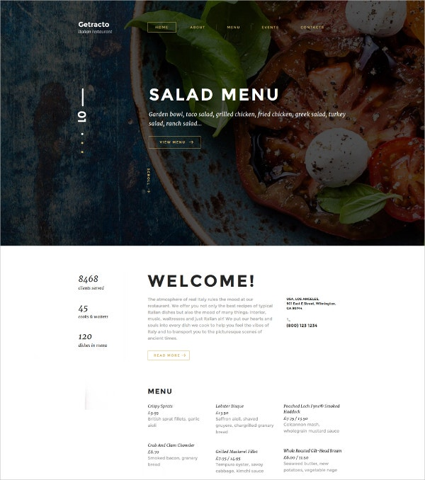 Tasty Food & Restaurant HTML5 Website Template $75