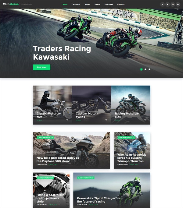 Sport Bike Racing HTML5 WordPress Website Theme $45