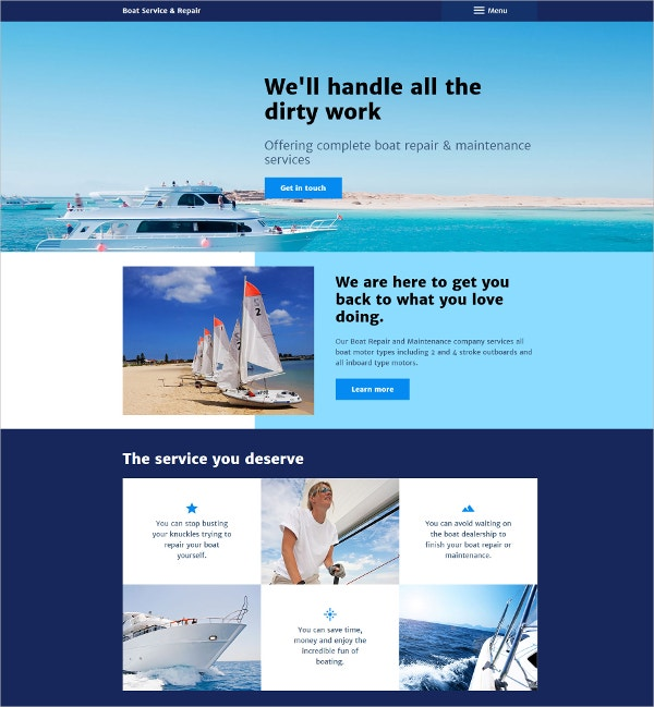 Boat Service Repair Club HTML5 Joomla Website Template $75