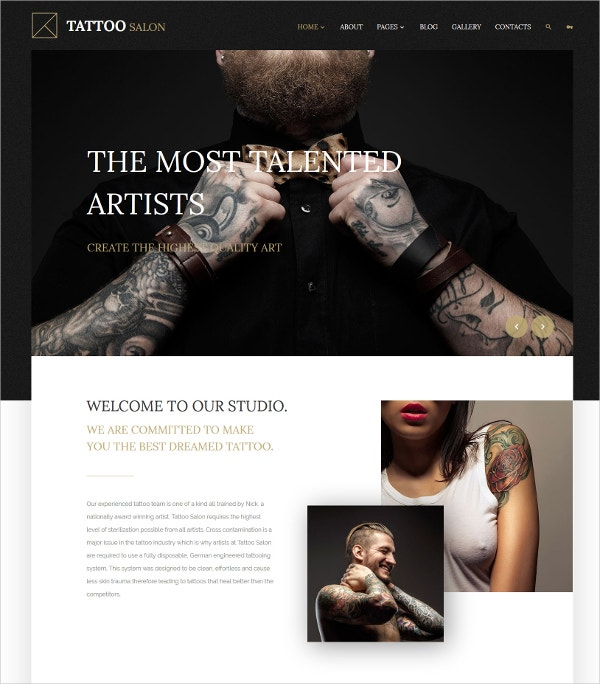 Stylish Tattoo Salon HTML5 Joomla Website Template $75