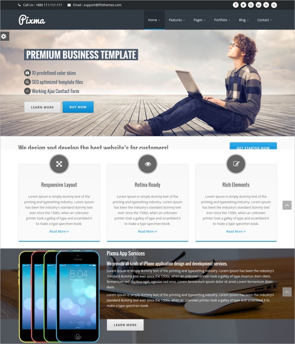 Responsive Multipurpose HTML5 Website Template $6