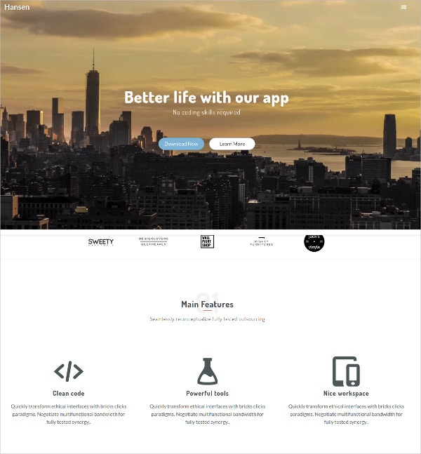 Minimalist HTML5 Website Template $14
