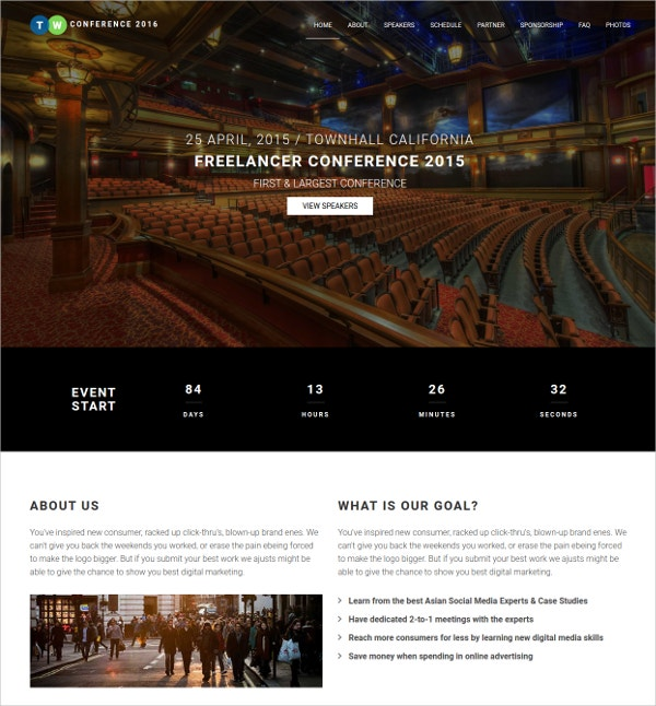 Responsive Event Planning HTML5 Wesite Template $12