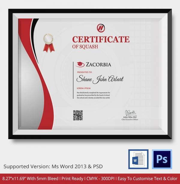 Squash Certificate Presentation