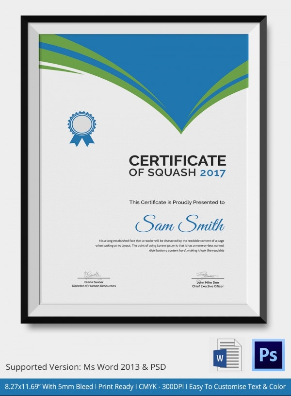 Appreciation of Squash Certificate