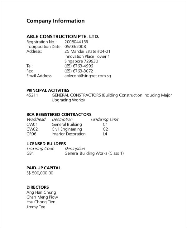 Construction Company Description Example