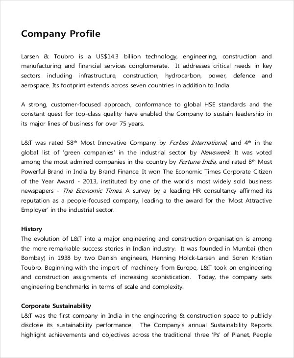 IT Company Description Example