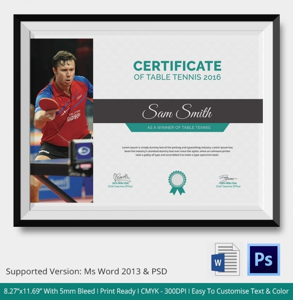 Award Winning Table Tennis Certificate
