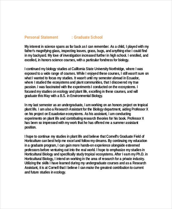Science Graduate School Personal Statement Example