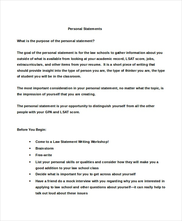 personal statement university example