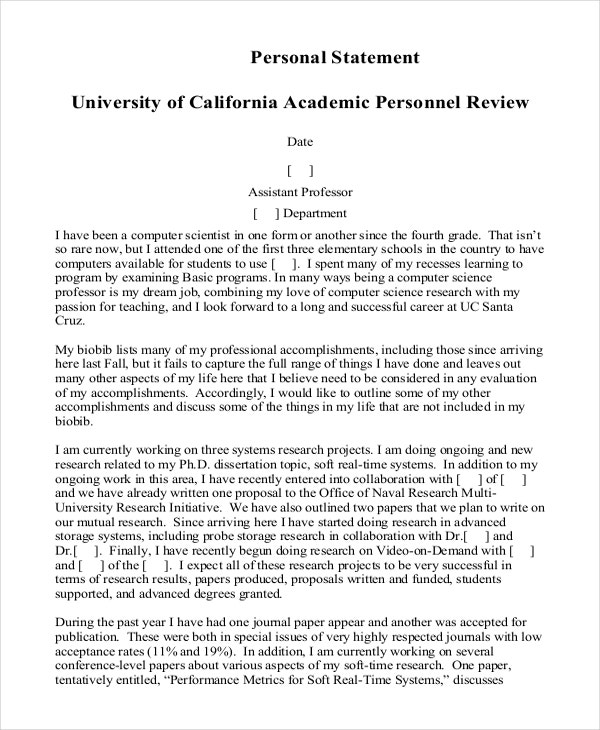 Computer Science Graduate School Personal Statement Example