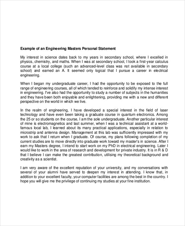 Engineering Graduate School Personal Statement Example