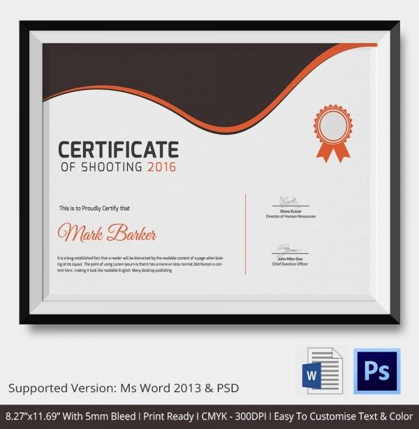 Shooting certificate 5 word psd format download free shooting certificate template download yadclub Images