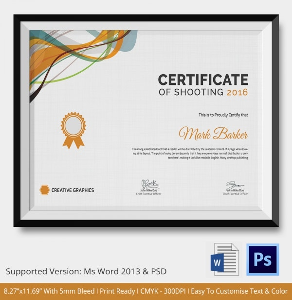 shooting certificate 5 word psd format download free