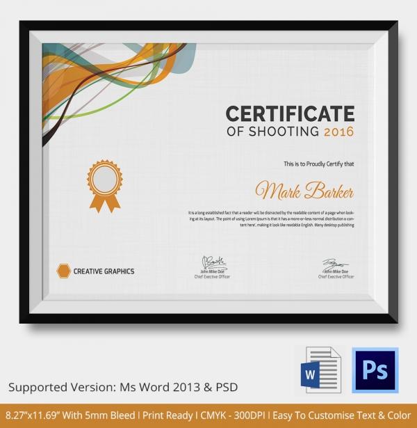 shooting certificate 5 word psd format download free With shooting certificate templates