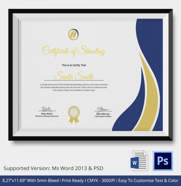 Premium Shooting Certificate Template
