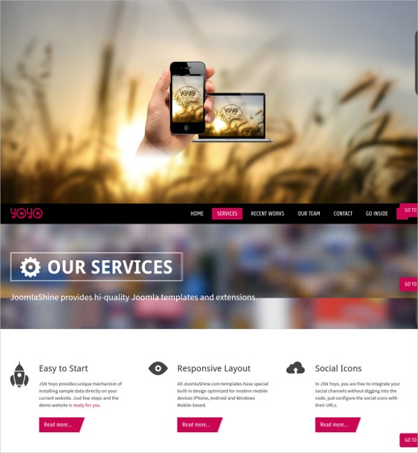 online portfolio one page joomla website theme 59