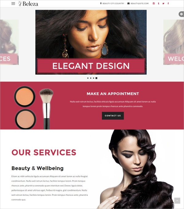 massage spa hair salon one page html5 website theme 16