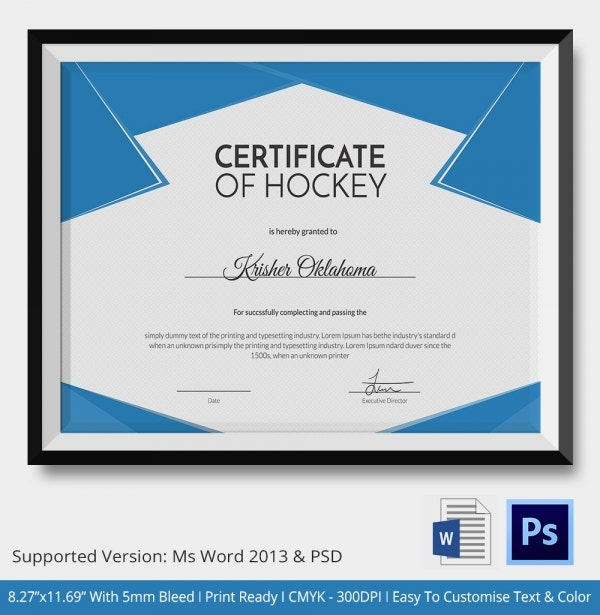 Certificate Of Hockey Tournament This Template