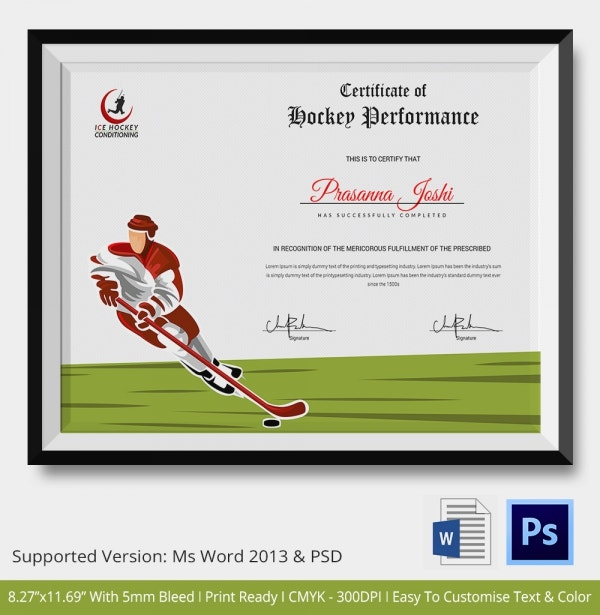 Hockey Certificate Template 9 Free Word Pdf Doents Premium Templates