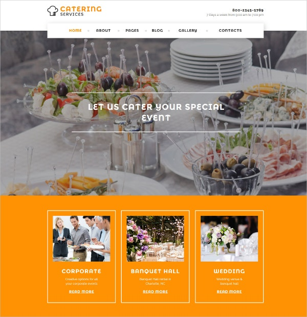 Restaurant & Catering Services Joomla Website Template $75