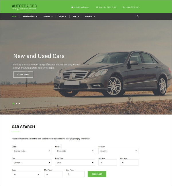 Car & AutoTrader Bootstrap Website Template $75