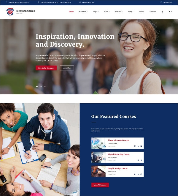 University & Education Bootstrap Responsive Website Template $75