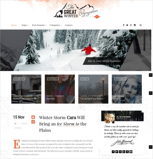 Personal Blog WordPress Website Theme $49