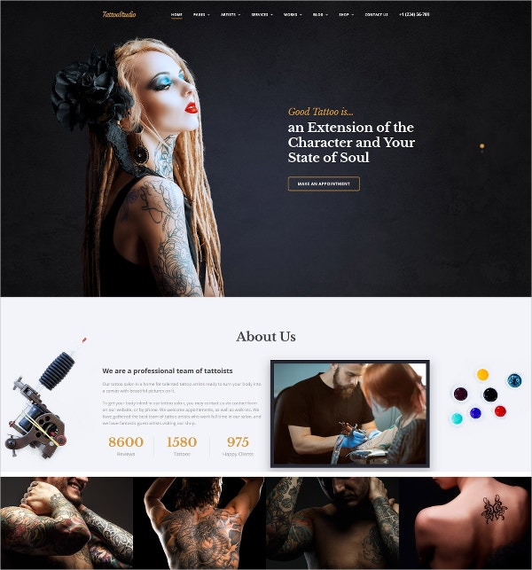 Tattoo Salon & Studio Bootstrap Responsive Website Template $75