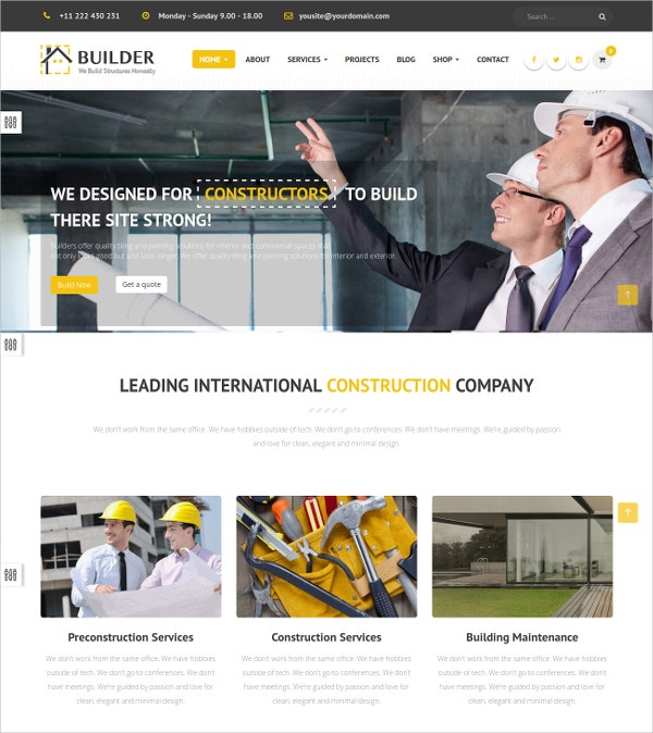 Construction Business Bootstrap Joomla Website Template $48
