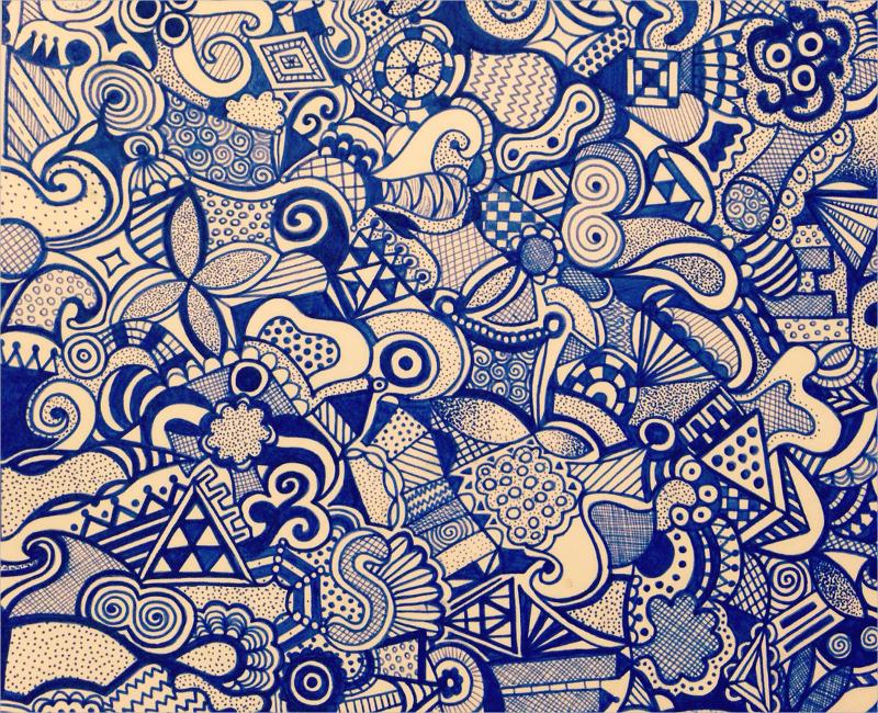 Blue Zentagle Pattern