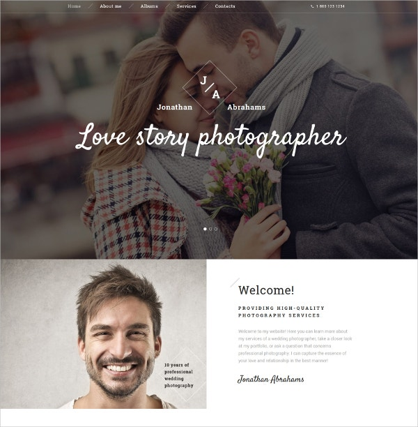 Wedding Photographer Portfolio Bootstrap Website Template $75