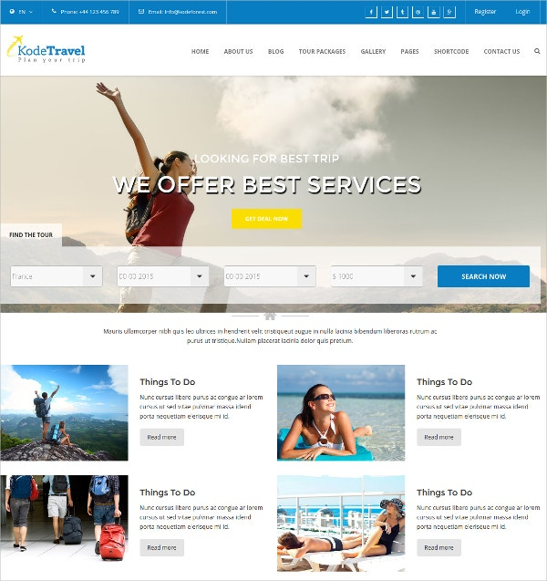 Travel & Tourism Bootstrap HTML5 Website Template $17