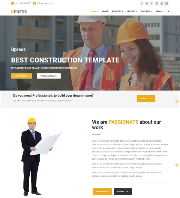 Construction Business Bootstrap WordPress Website Theme $24