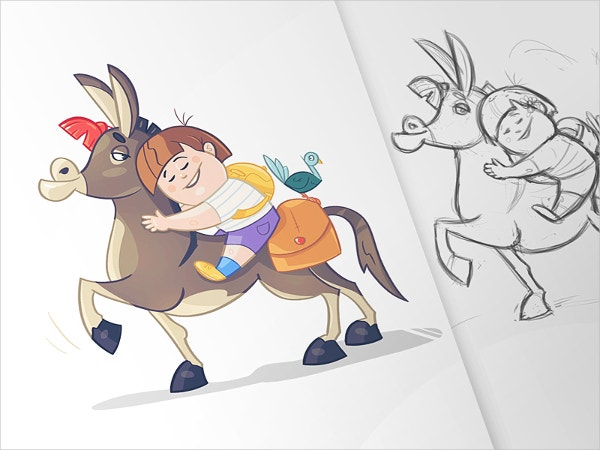 Cute Child & Donkey Drawing