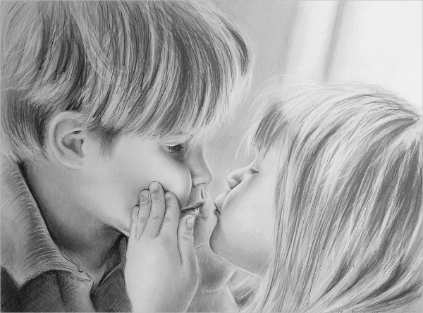 Kids Kissing Pencil Drawing