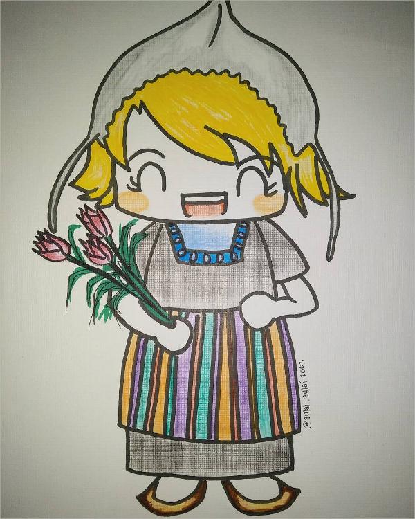 dutch lady drawing