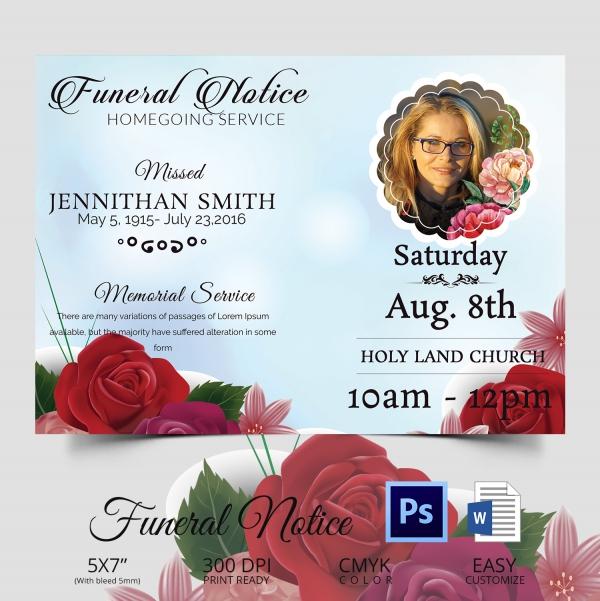 Memorial Funeral Death Notice